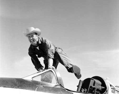 "Test Pilot ""Cowboy"" Joe Walker and the Bell X-1A rocket plane at the NASA High-Speed Flight Station, Edwards Air Force Base, Calif., 1955."