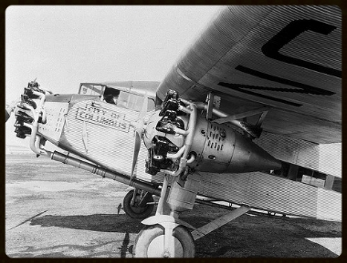 """On June 11, the Ford Trimotor made its first flight. Known as the ""Tin Goose,"" the plane was a high-wing monoplane with all-metal construction and a corrugated skin."" FAA"