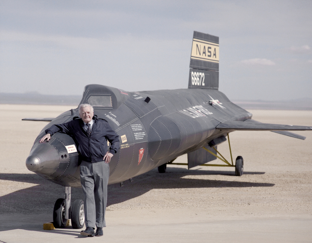 X-15 mock-up with test pilot Milt Thompson. (NASA)