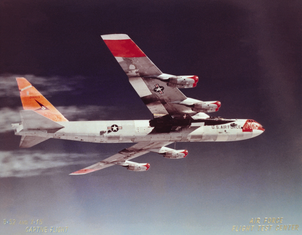X-15 Mated to B-52 Captive Flight. (NASA)
