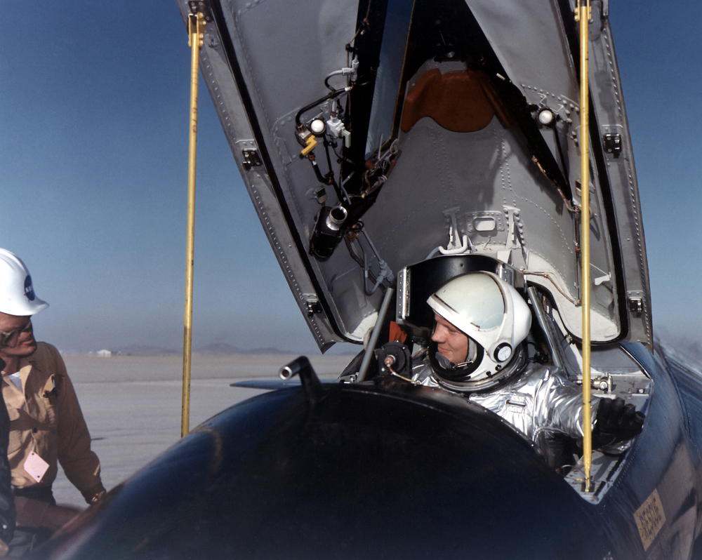 Dryden pilot Neil Armstrong in the cockpit of the X-15. (NASA)
