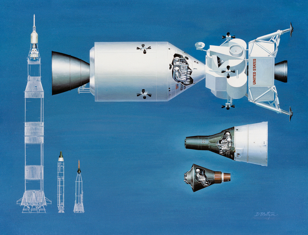 NASA_spacecraft_comparison NASA illustration comparing boosters and spacecraft from Apollo (biggest), Gemini and Mercury (smallest).