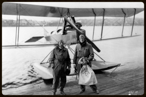 William E. Boeing and pilot Eddie Hubbard flew the first international mail flight to the U.S. on March 3, 1919 from Vancouver, B.C. to Seattle.  Photo- Boeing