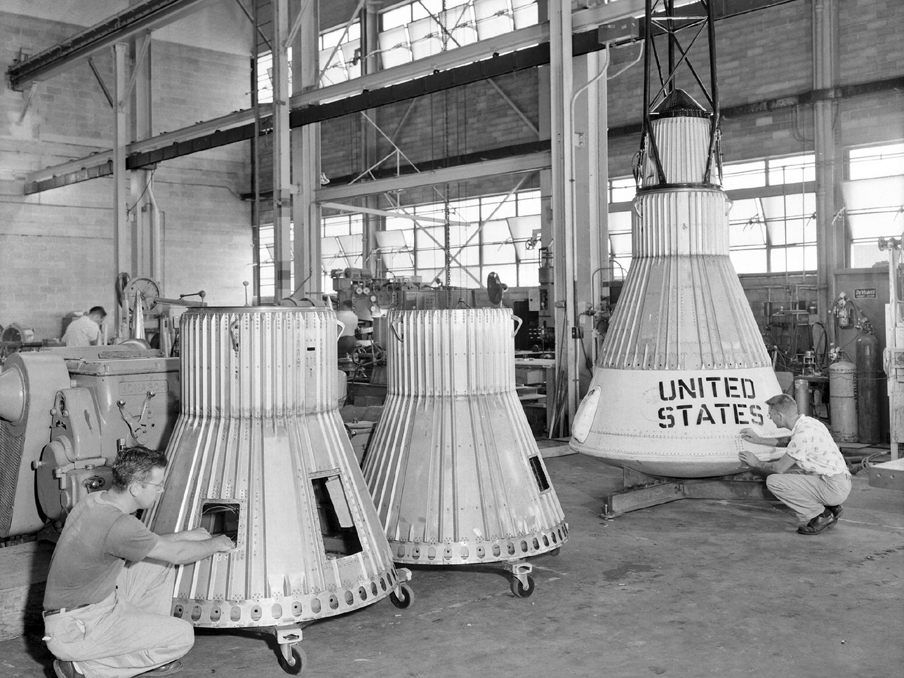 Langley technicians construct the Little Joe capsules in-house in Langley's shops.