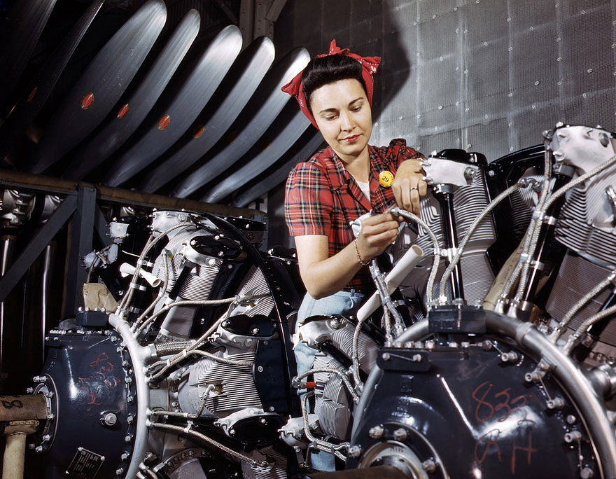 June 1942. Engine inspector for North American Aviation at Long Beach, California..jpg