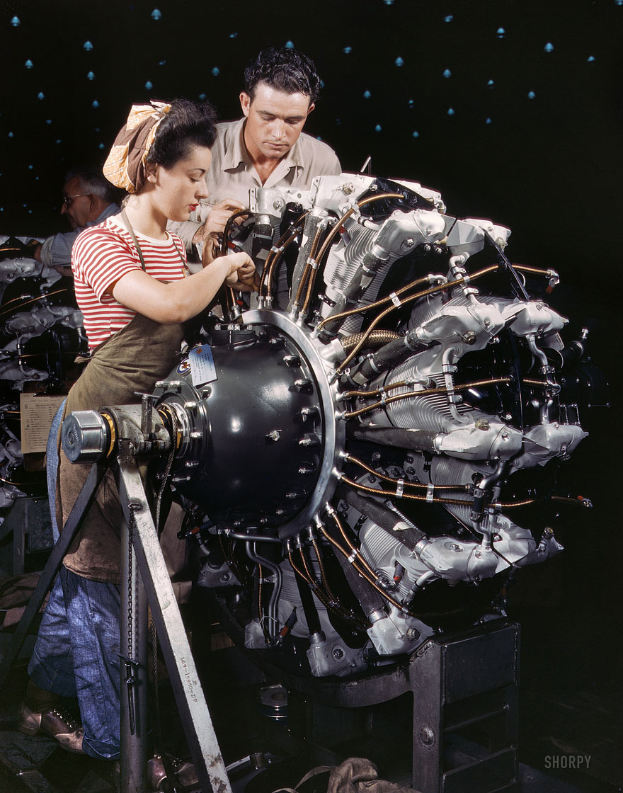 "October 1942. ""Women are trained as engine mechanics in thorough Douglas training methods."