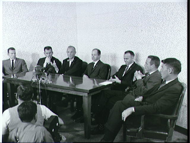 Original Mercury Astronauts with Col. John A. (Shorty) Powers