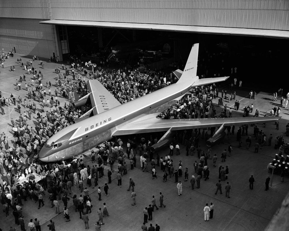 Boeing produced the first 707 passenger jet in May 1954. Boeing Archives.