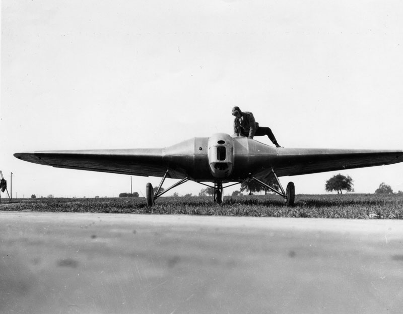 Pilot Eddie Bellande on the Northrop Avion Ex-1, prototype of the flying wing.