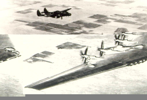 Northrop XB-35 followed by Northrop P-61 chase plane