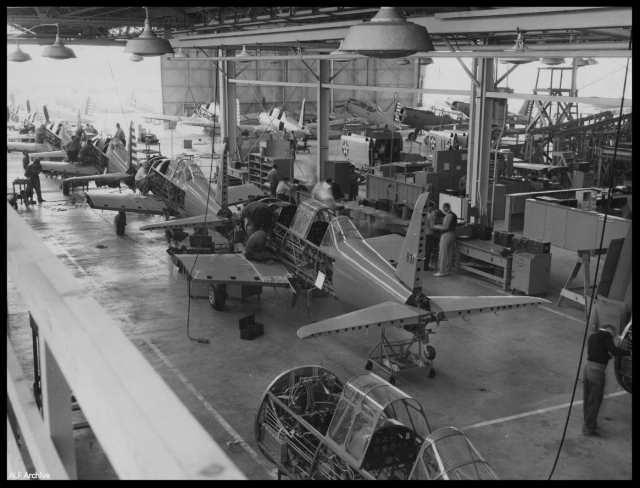 Vultee Aircraft Company's plant, showing a production line of U.S. Army Air Corps Valiant Basic Trainers BT-13's ca.1940-1945