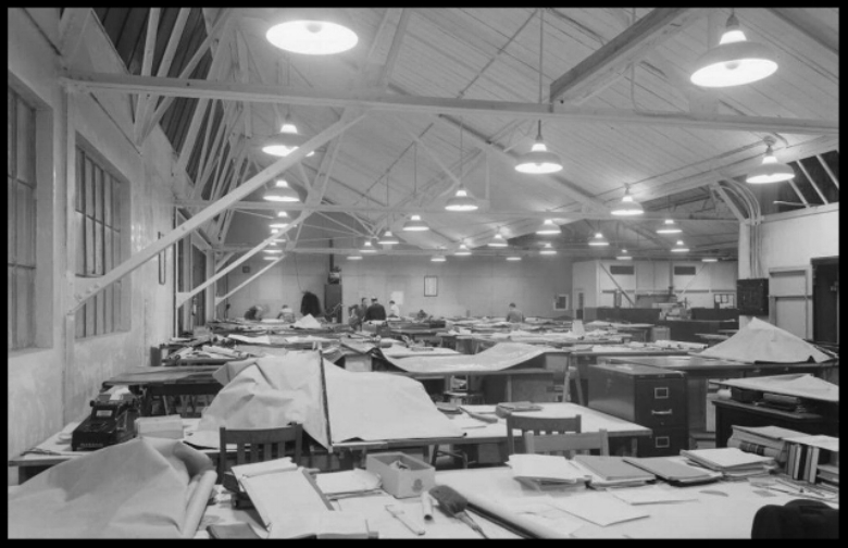 Above- Drafting room at Vultee Aircraft plant in Downey, CA 1938.