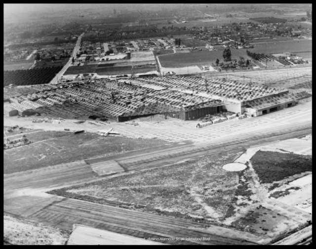 Vultee Field and Consolidated Vultee Plant in Downey California at Lakewood Blvd. and Alameda St. facing west. 1943-44