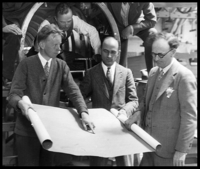 The Lockheed management team in 1929 included Jack Northrop (left), Jerry Vultee (in Vega fuselage), Bill Henry and Allan Lockheed.