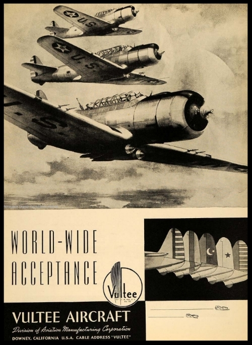 Above- Vultee ad from Vultair magazine. Aerospace Legacy Foundation.