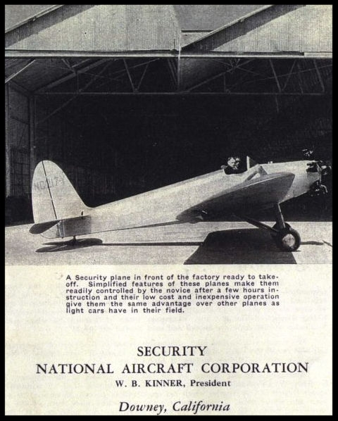 Above- Security Aircraft brouchure 1932