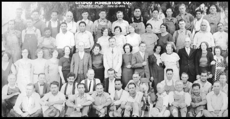 EMSCO Asbestos employees November, 1933. This business was in Downey, California.