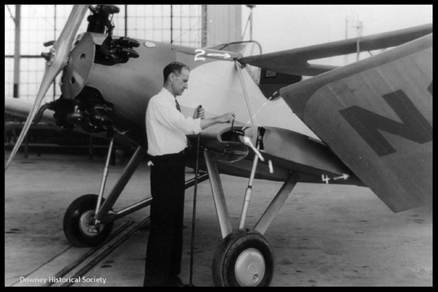 "Above- Bert Kinner and ""folding wing"" design 1933."