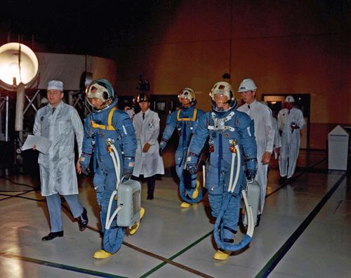 Apollo-2 astronauts (left to right) Jim McDivitt, Dave Scott and Rusty Schweickart