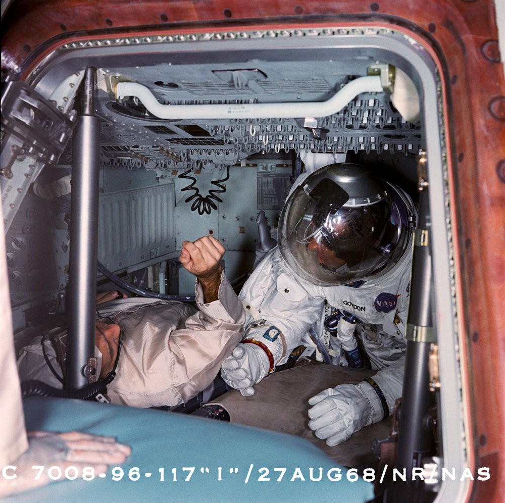 SC-104 Apollo 9 crew compartment fit and function C2F2 test at the North American, Downey, Calif. Fac.8 29 1968.jpg