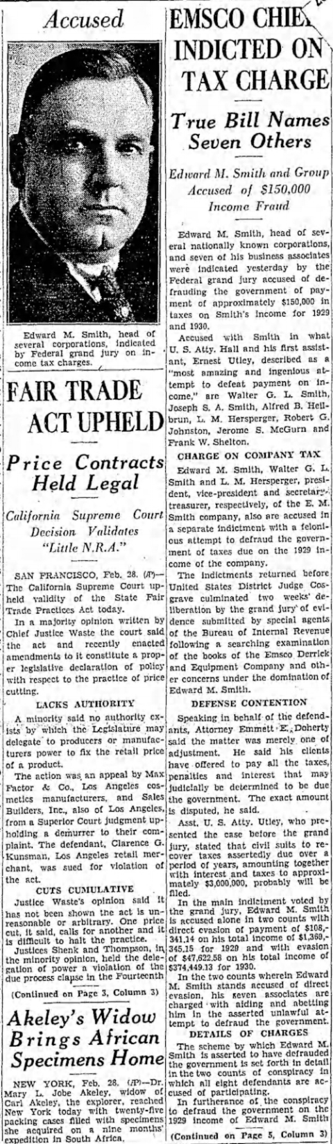 The Los Angeles Times - Saturday Feb. 29 1936- Emsco Chief Indicted