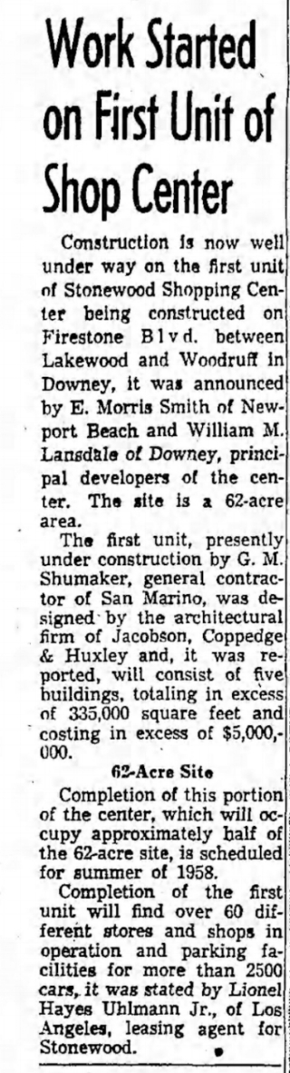Stonewood Shopping Center in Downey. The Los Angeles Times Sun. Dec. 1, 1957. E.Morris Smith is E.M. Smith, the man who built Emsco Aircraft in Downey.