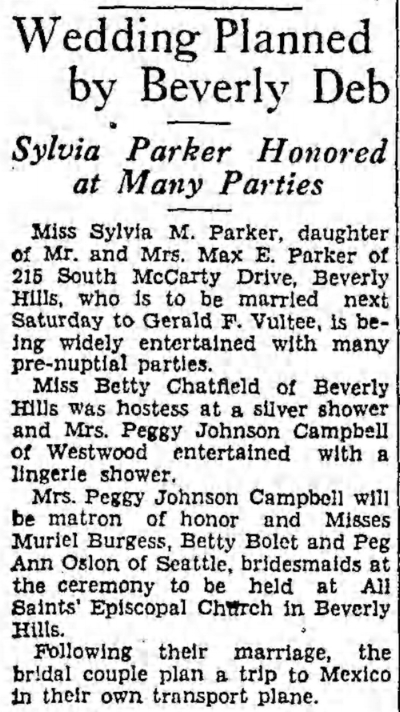 Wedding plans for Vultee and Sylvia Parker