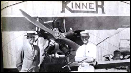 Above- Harris Roake, left, and W. B. Kinner with the first successful Kinner engine, 1927. It was mass-produced in models ranging from 100 to 160 hp.