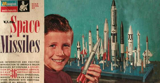 Above- Monogram US Space Missiles 2nd Issue- Titan II- Atlas- Minuteman II- Thor- Hound Dog- Corporal- Nike Hercules- Sergeant- Nike Ajax