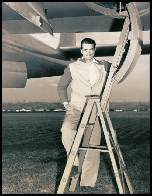 Photograph of Howard Hughes, standing by the XF-11, April 3, 1947.   More here...