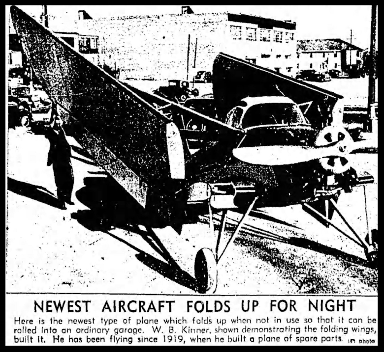 """Sports Plane With Birdlike Wings""- November 6, 1936, Los Angeles Times."