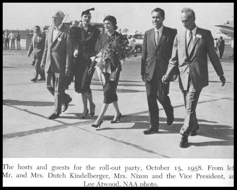 "Mr. and Mrs. ""Dutch"" Kindelberger with Vice President Nixon and his wife and Lee Atwood. 1958"
