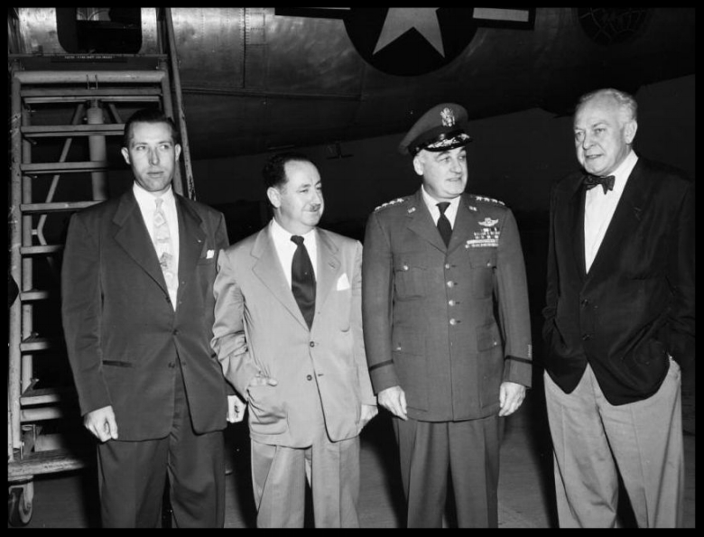 Above- General Twining, 16 December 1952. General Nathan F. Twining; Dutch Kindelberger (President, North American Aviation) Woodruff de Silva (Airport Manager); Robert Grover; Robert A. Crigler.  Image- USC Digital