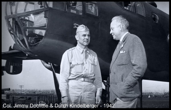 Colonel Jimmy Doolittle and Dutch Kindelberger, pioneers in aviation 1942. Image- Winship