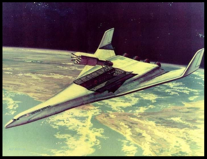 Windjammer deploys a satellite in Earth orbit.. The Windjammer was an early 1970's  HTHL SSTO  proposal initially developed by Boeing & North American Rockwell and later refined by Len Cormier in 1970-73.  Image- Rockwell/NASA