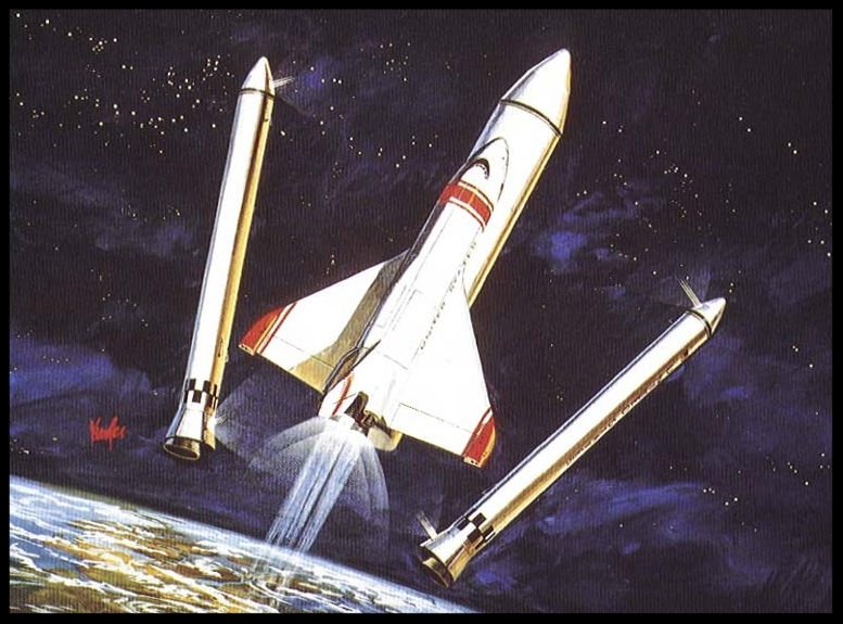 North American Rockwell again refused to pick a favored concept and only noted that a case could be made for either solid or liquid boosters depending on....  Image-  NASA