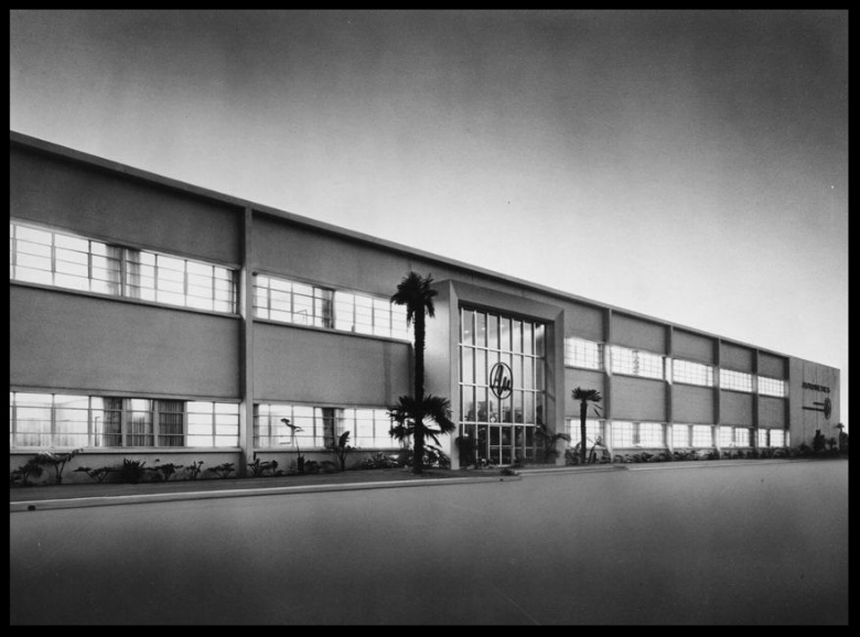 Photograph of an exterior view of the headquarters of Autonetics, a division of North American Aviation, Incorporated, ca.1955. Downey, CA.