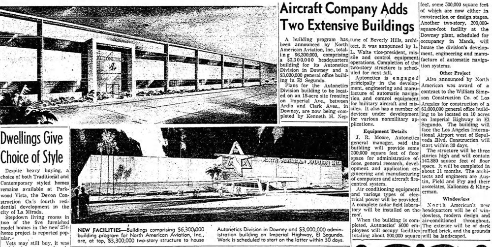 The Los Angeles Times, January 15, 1956. Downey Autonetics building in Downey.