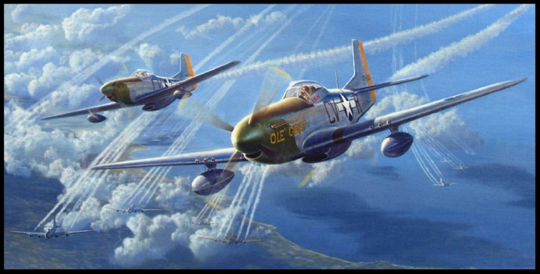 "North American P-51 Mustang ""First designed for the British as a medium-altitude fighter, the Mustang excelled in hedge-hopping strafing runs and long-range escort duty. It made a name for itself by blasting trains, ships and enemy installations in Western Europe and by devastating Axis defenses before the Allied invasion of Italy. The Mustang was the first single-engine plane based in Britain to penetrate Germany, first to reach Berlin, first to go with the heavy bombers over the Ploiesti oil fields in Romania, and first to make a major-scale, all-fighter sweep specifically to hunt down the dwindling Luftwaffe. One of the highest honors accorded to the Mustang was its rating in 1944 by the Truman Senate War Investigating Committee as ""the most aerodynamically perfect pursuit plane in existence."" The North American prototype, NA-73X, was first flown on Oct. 25, 1940. At least eight versions of the Mustang were produced"". More here from Boeing... P-51 Wallpaper here..."