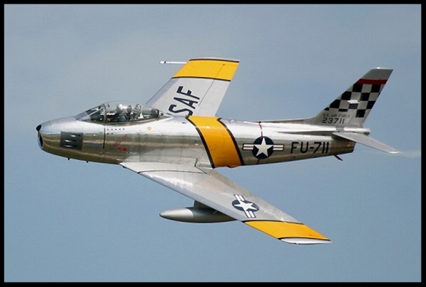 The North American F-86 Sabre  was one of the greatest fighter aircraft of all time.  More here...