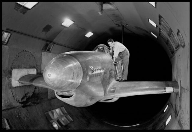 P-51 Mustang during wind tunnel testing at North American Aviation, ca., 1939.