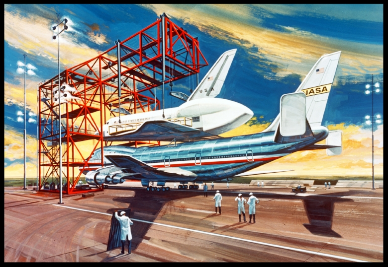 Space Shuttle concept artwork October 1976.  Image- Rockwell/NASA