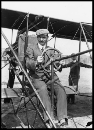 Glenn Curtiss at the controls of a Curtiss aircraft. Currtiss was a well known motorcycle designer/builder also.