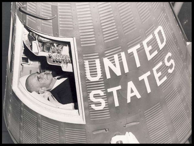 1960. General James Doolittle in Gemini Spacecraft , St. Louis Missouri. Image- USAFA