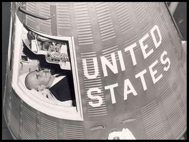 1960. General James Doolittle in Gemini Spacecraft , St. Louis Missouri. Image- USAFA