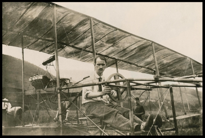 Glenn Curtiss in his Biplane, July 4, 1908.