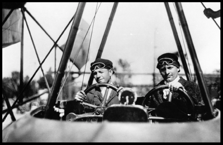 Malcolm and Allan Loughead  in cockpit of their F-1 flying boat, 1918. Image- San Diego Air & space