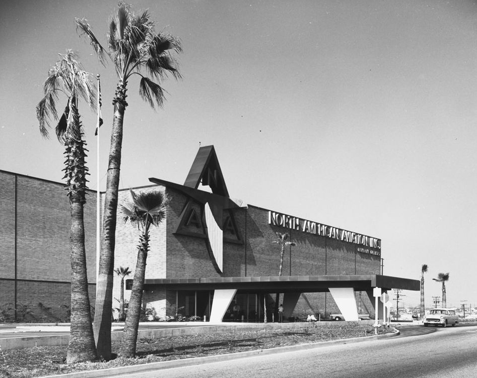 Photograph of North American Aviation Company building, ca.1960. Image- California Historical Society/ USC.