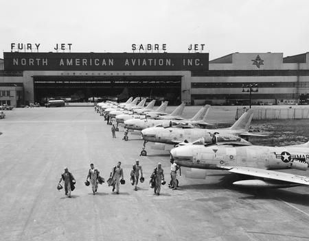 North American Aviation Test Pilots with F-86 Sabre jets.