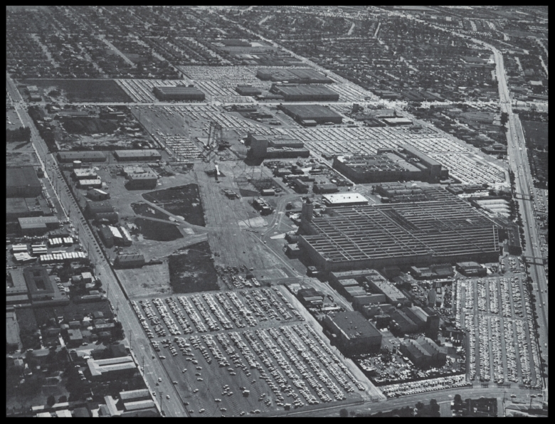 North American Aviation Space and information Division home of the Apollo Spacecraft, 225 acres at Downey, CA, 1960's. Lakewood Blvd. is on the right, Imperial Hwy. is on the top, Bellflower Blvd. is on the left and Stewart & Gray Rd. is on the bottom. Image- ALF